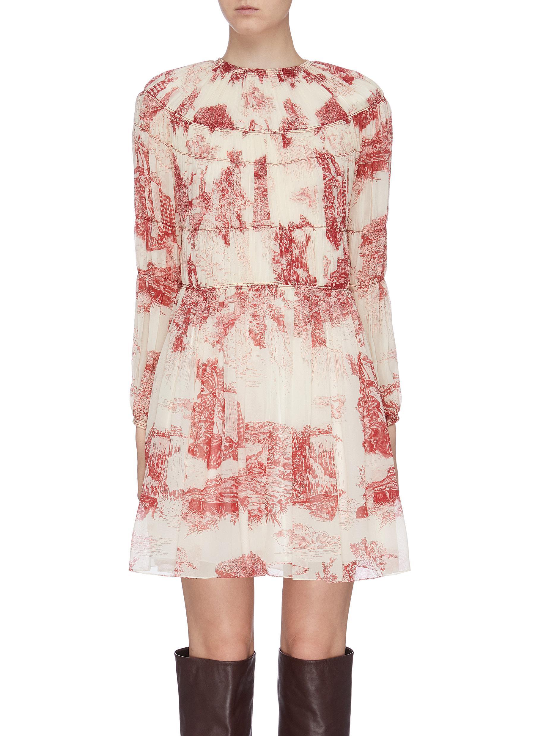 Pleated Toile Du Jouy print silk dress by Chloé