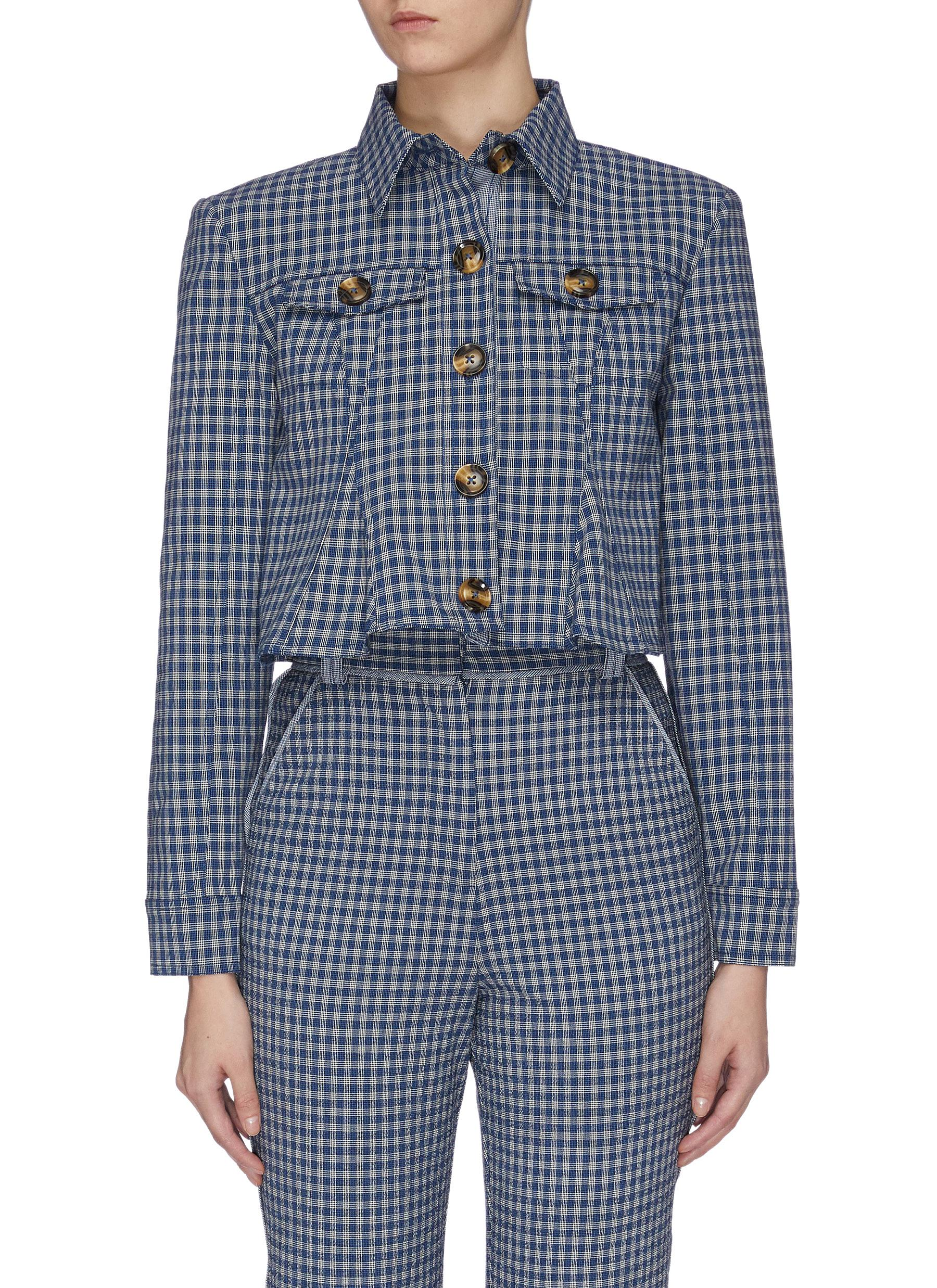 Levels gingham check cropped peplum jacket by C/Meo Collective