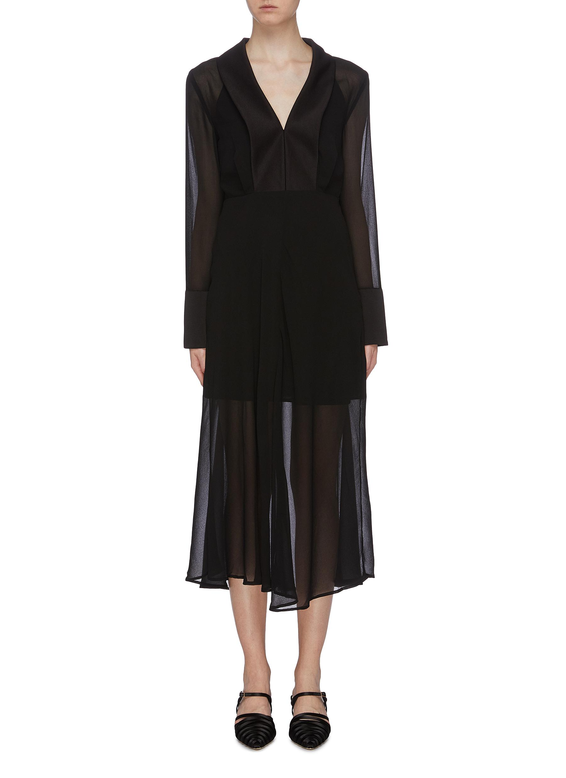 Try Again satin lapel georgette V-neck dress by C/Meo Collective