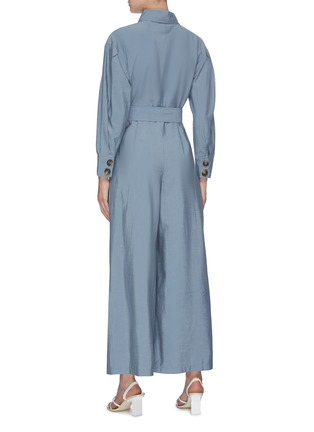 Back View - Click To Enlarge - C/MEO COLLECTIVE - 'No Lies' belted button front wide leg jumpsuit