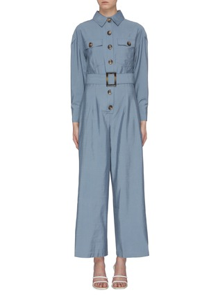 Main View - Click To Enlarge - C/MEO COLLECTIVE - 'No Lies' belted button front wide leg jumpsuit