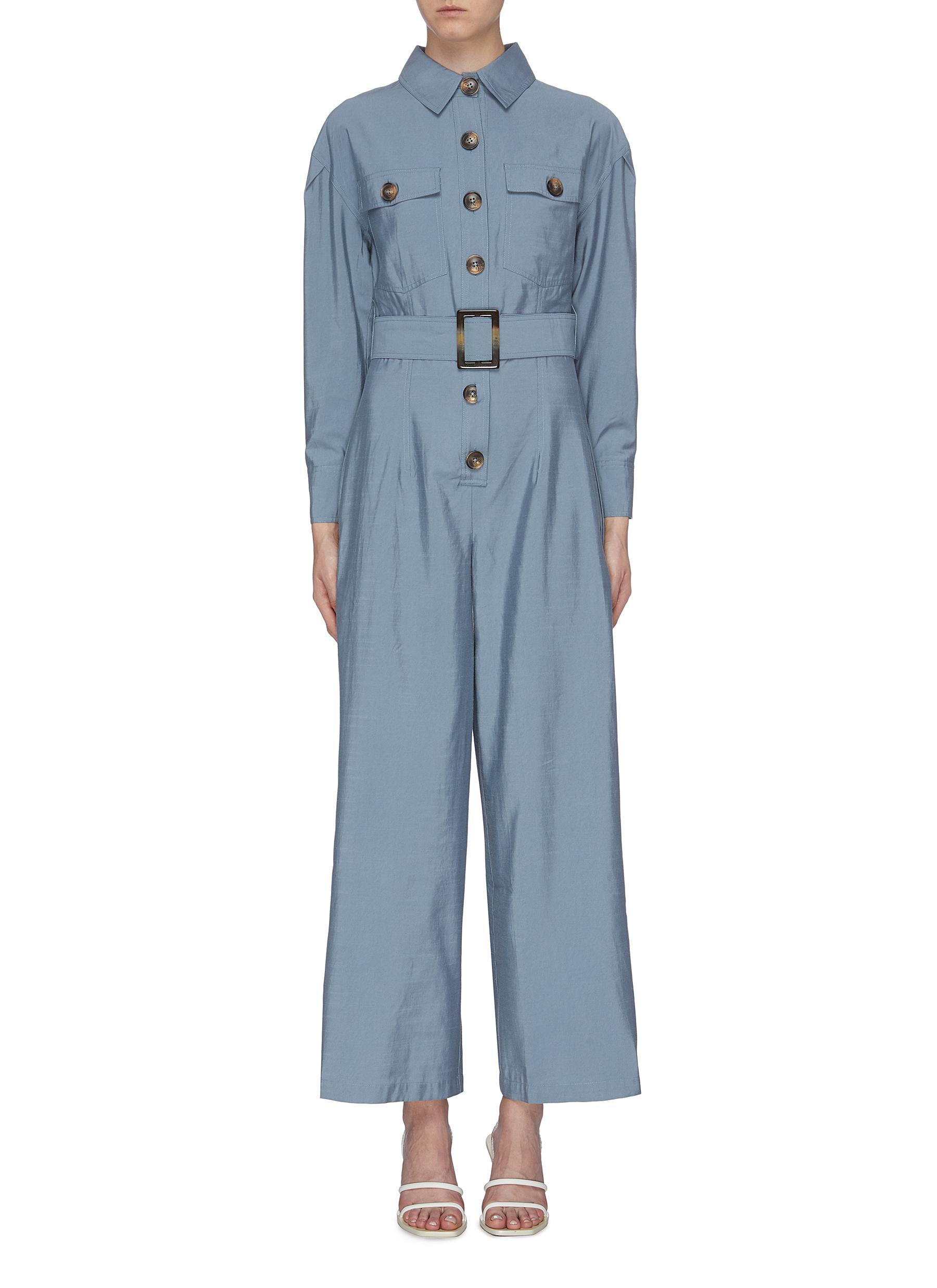 No Lies belted button front wide leg jumpsuit by C/Meo Collective