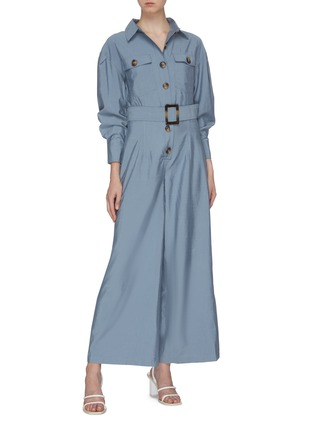 Figure View - Click To Enlarge - C/MEO COLLECTIVE - 'No Lies' belted button front wide leg jumpsuit