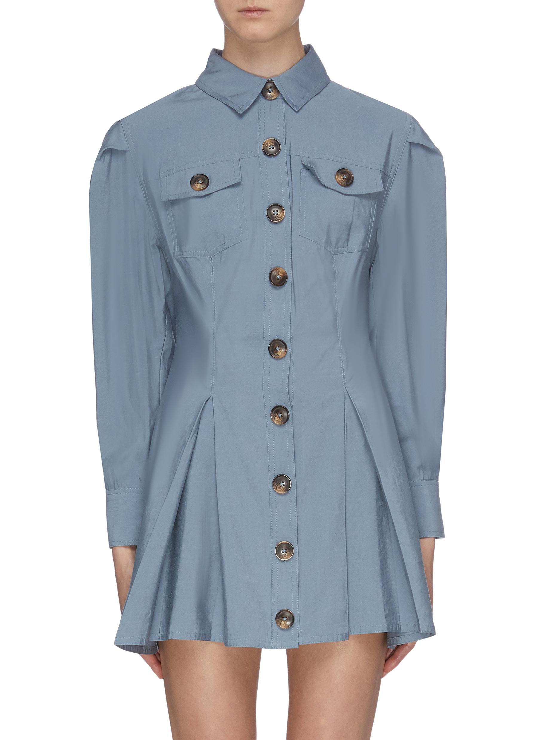 No Lies flared pleated shirt dress by C/Meo Collective