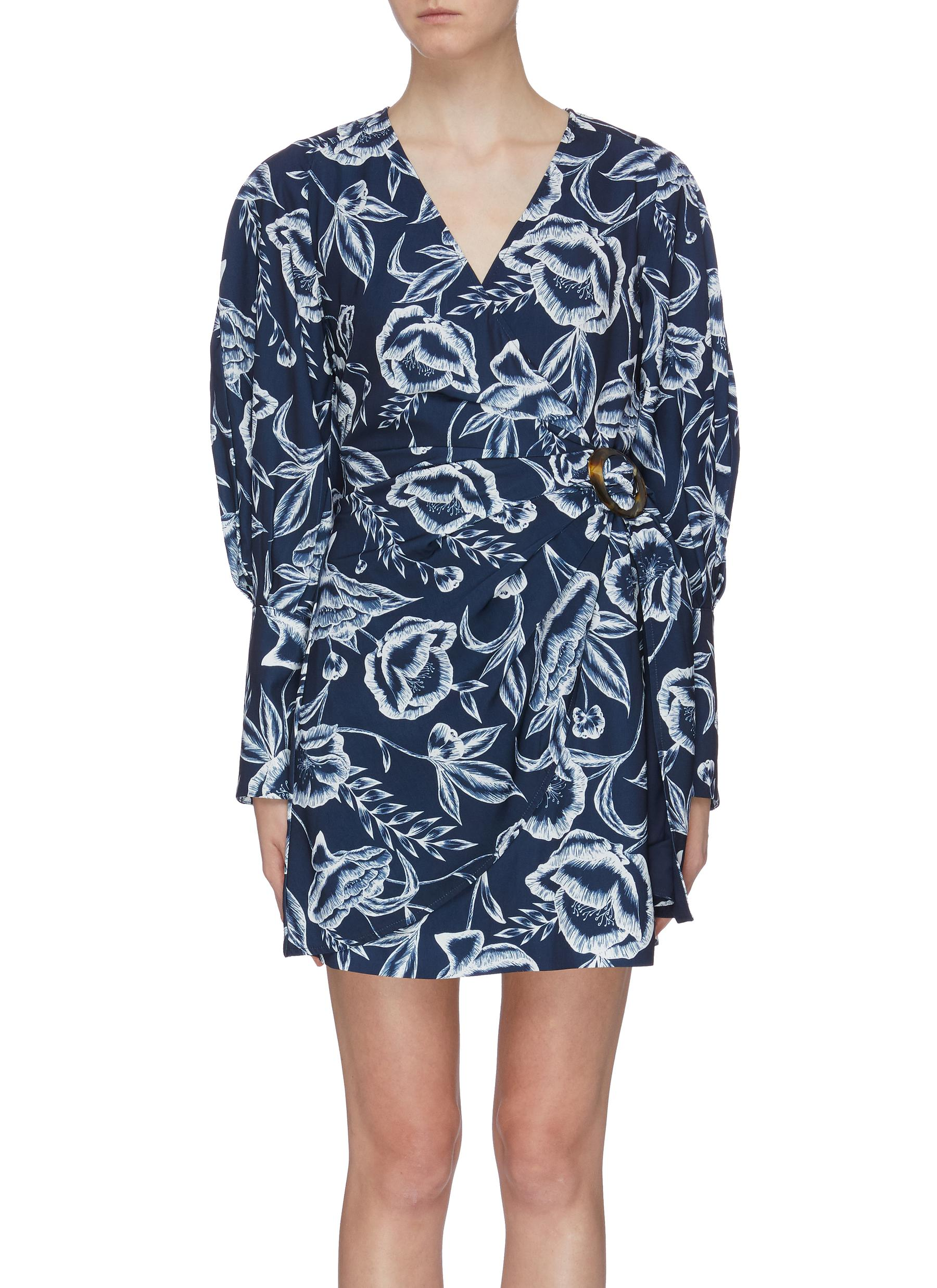 Discretion botanical print mock wrap dress by C/Meo Collective