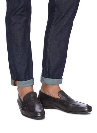 Figure View - Click To Enlarge - JOHN LOBB - Thorne' grainy leather penny loafers