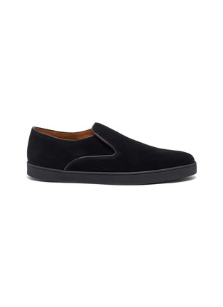 Main View - Click To Enlarge - JOHN LOBB - 'Haven' suede skate slip-ons
