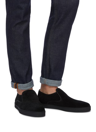 Figure View - Click To Enlarge - JOHN LOBB - 'Haven' suede skate slip-ons