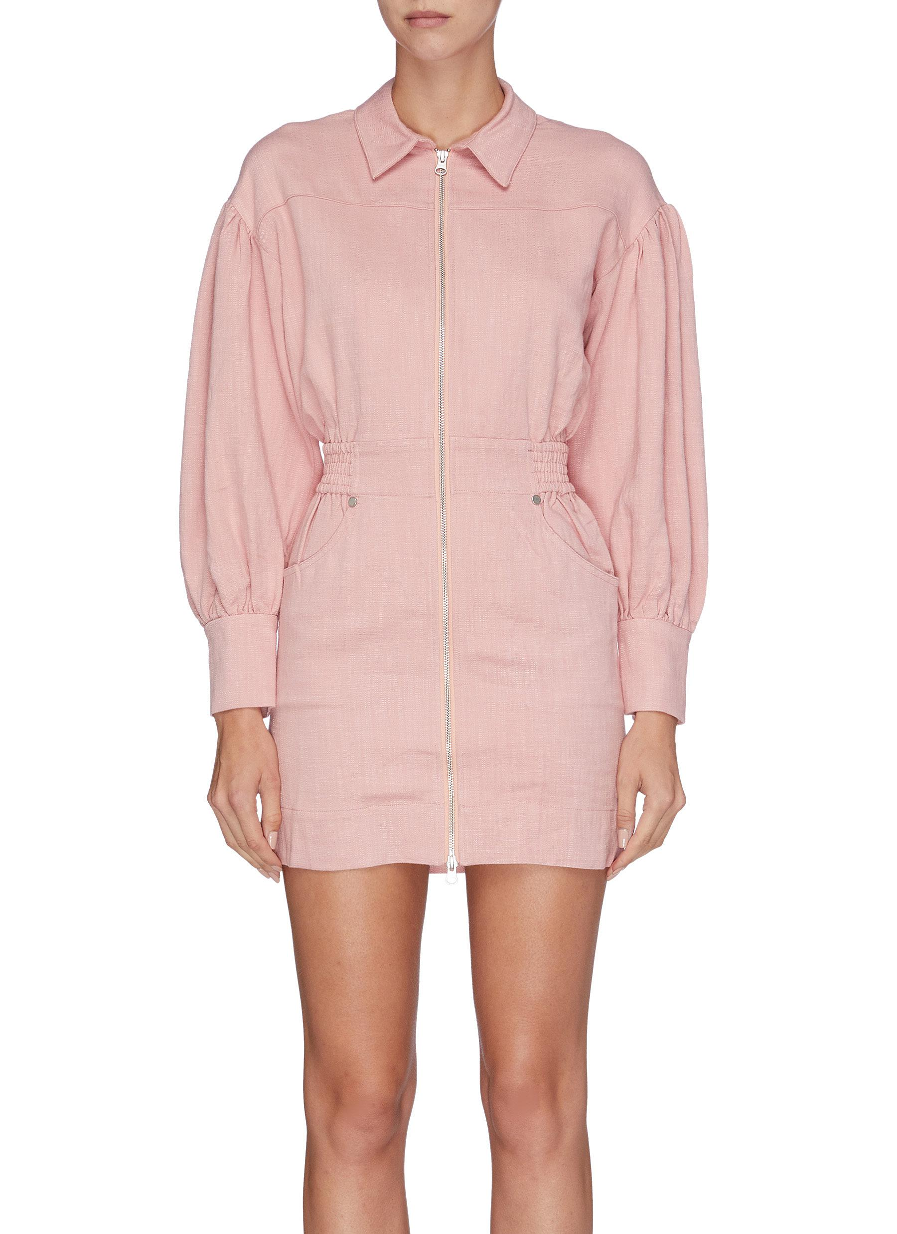Clean slate zip front bishop sleeve dress by C/Meo Collective