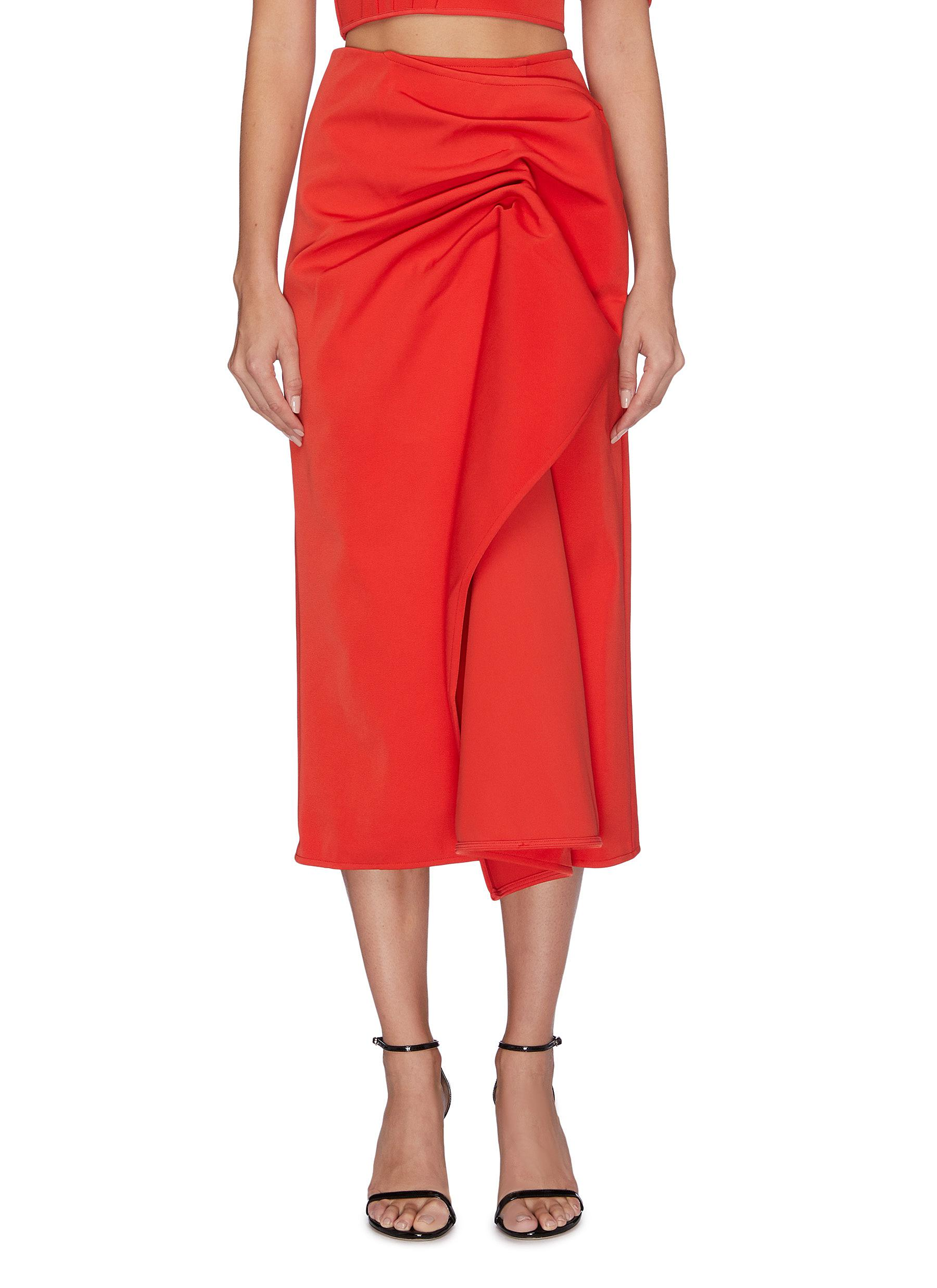 On the level gathered draped skirt by C/Meo Collective