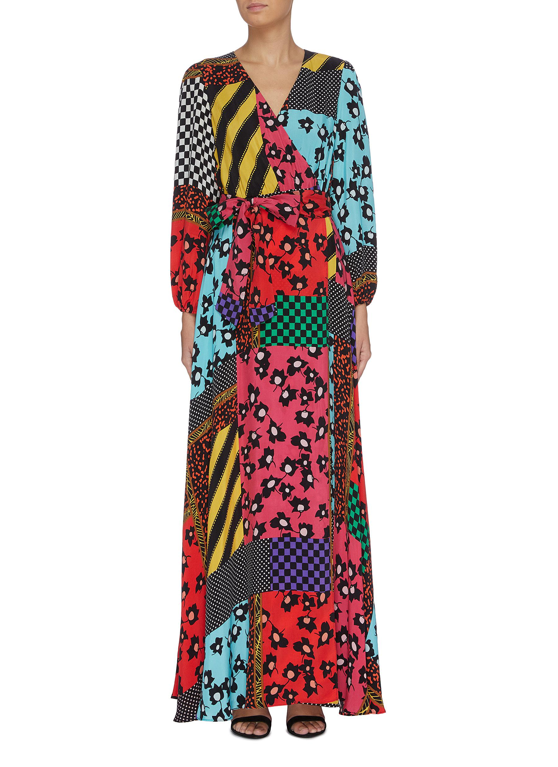 Coco floral print panelled colourblock maxi dress by Alice + Olivia