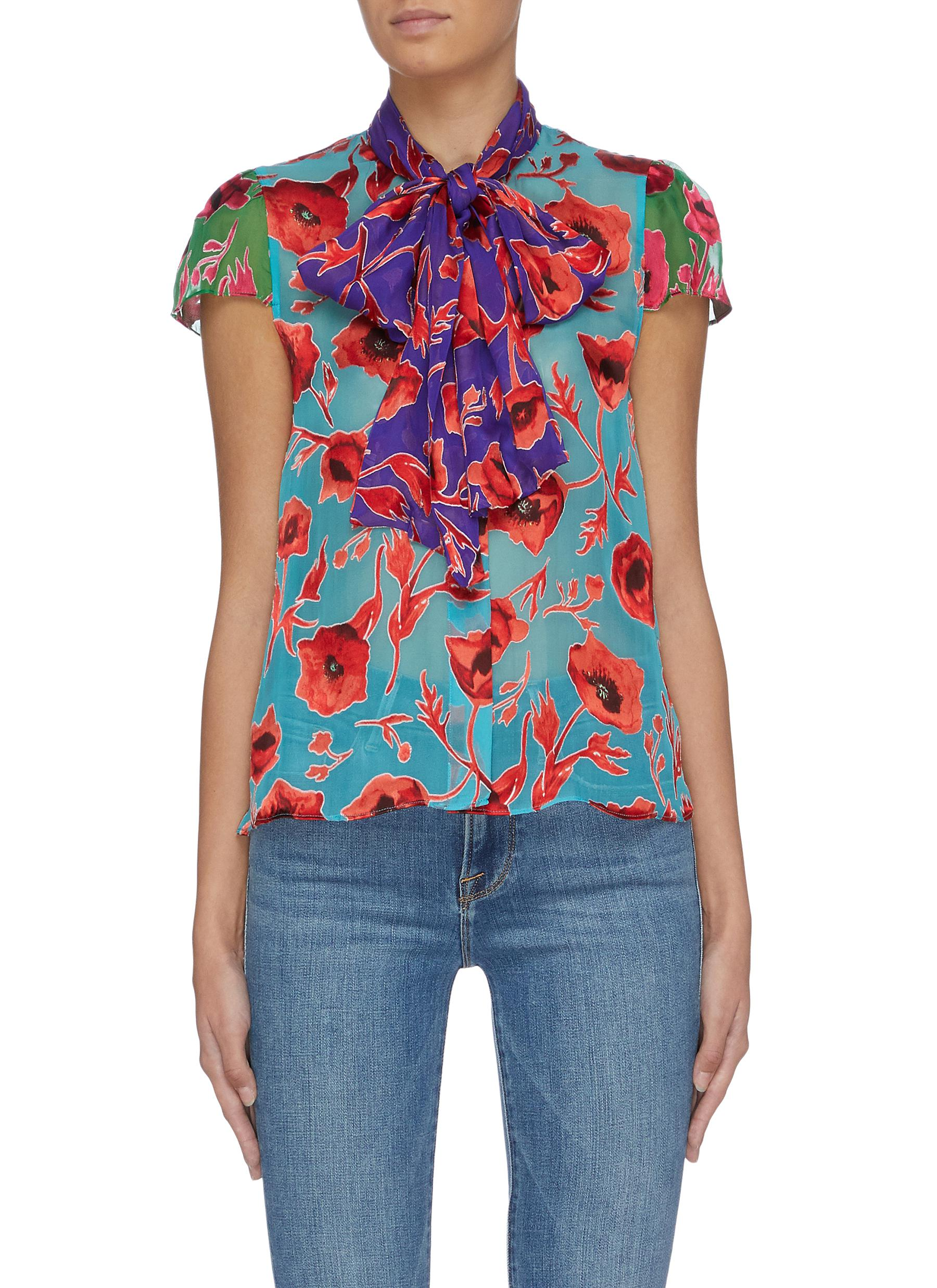 Jeannie colourblock floral print pussybow top by Alice + Olivia
