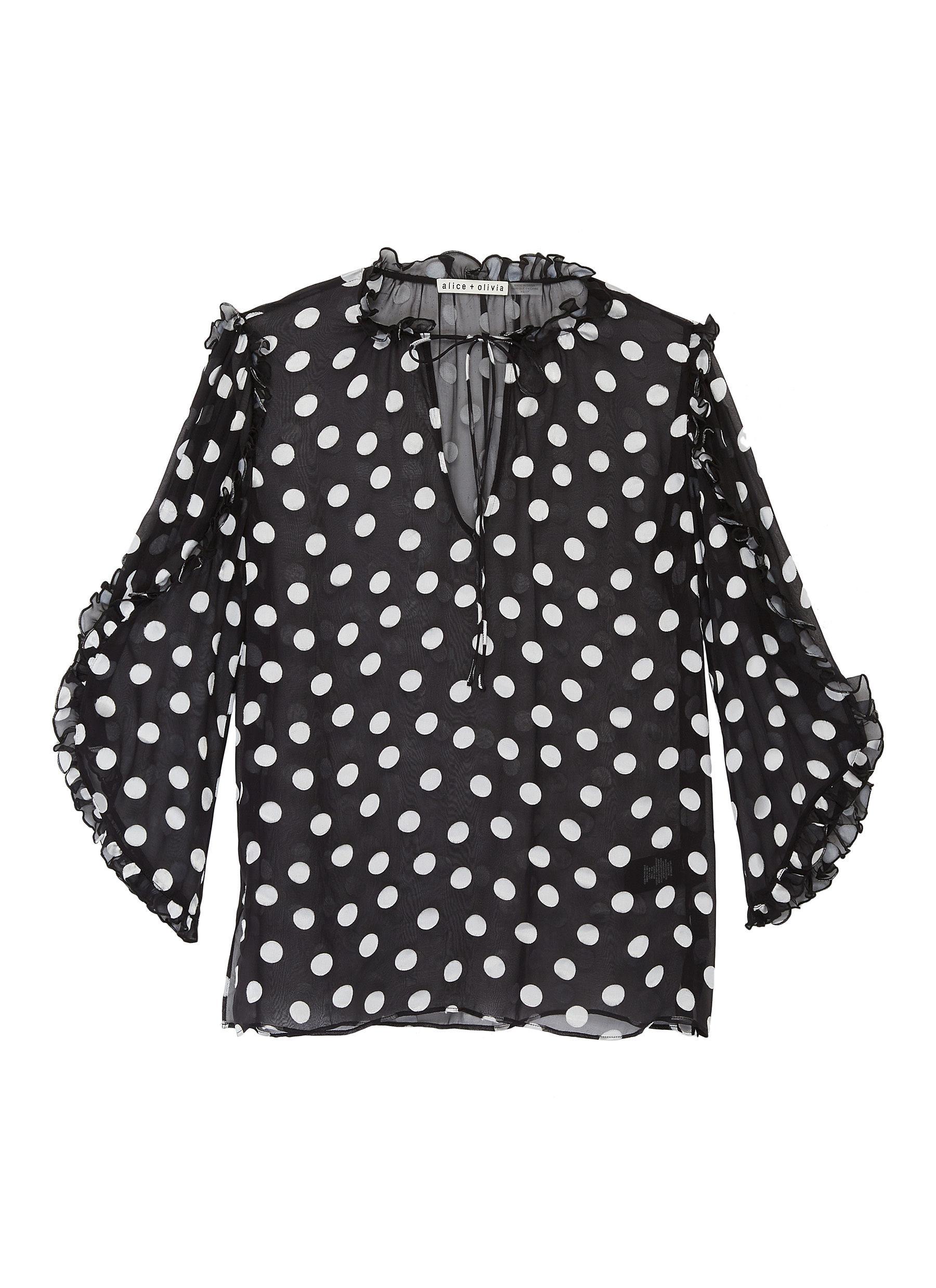 Julius sheer ruffle sleeve polka dot print tunic top by Alice + Olivia