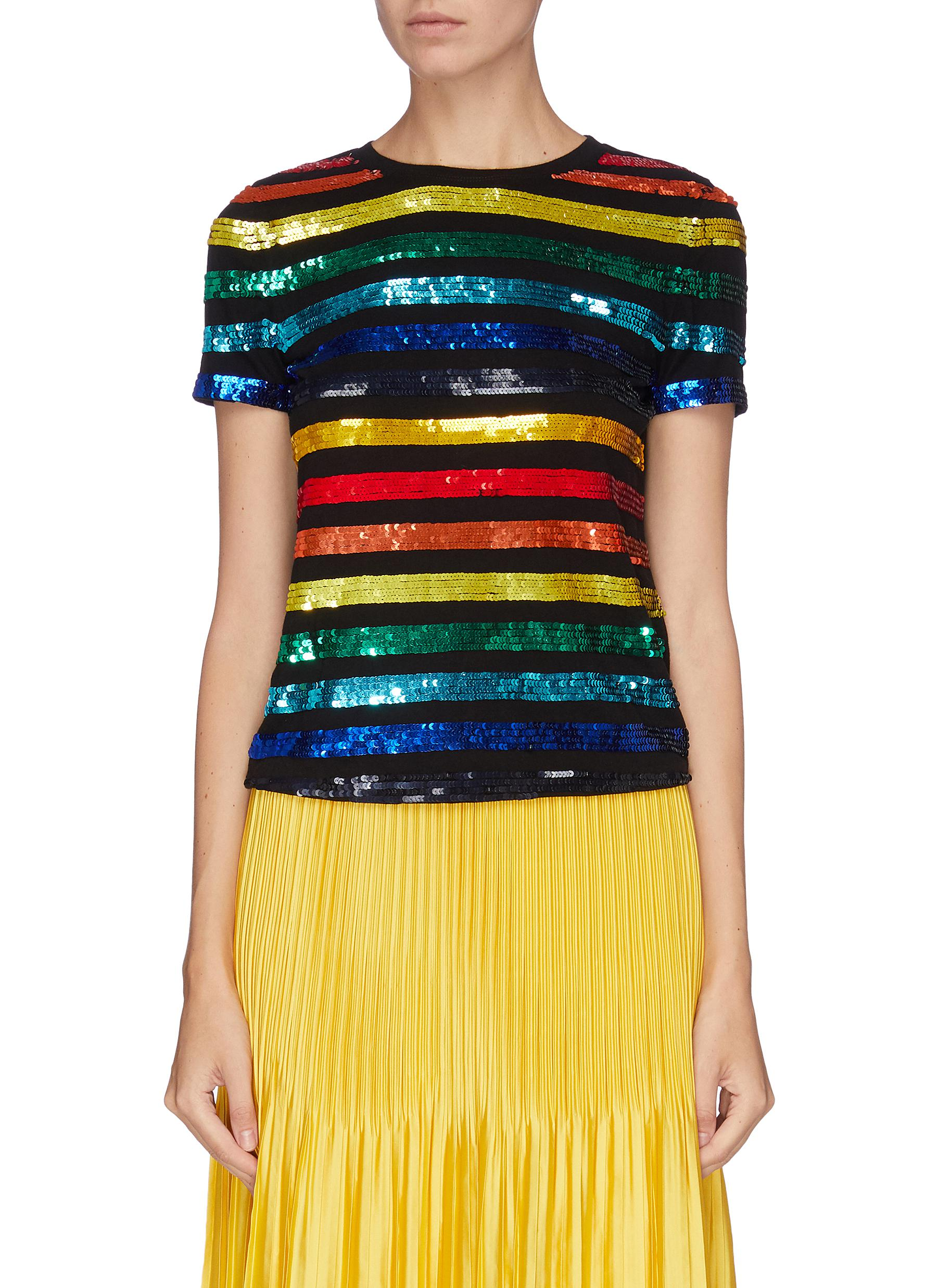 Rylyn sequin embellished stripe top by Alice + Olivia