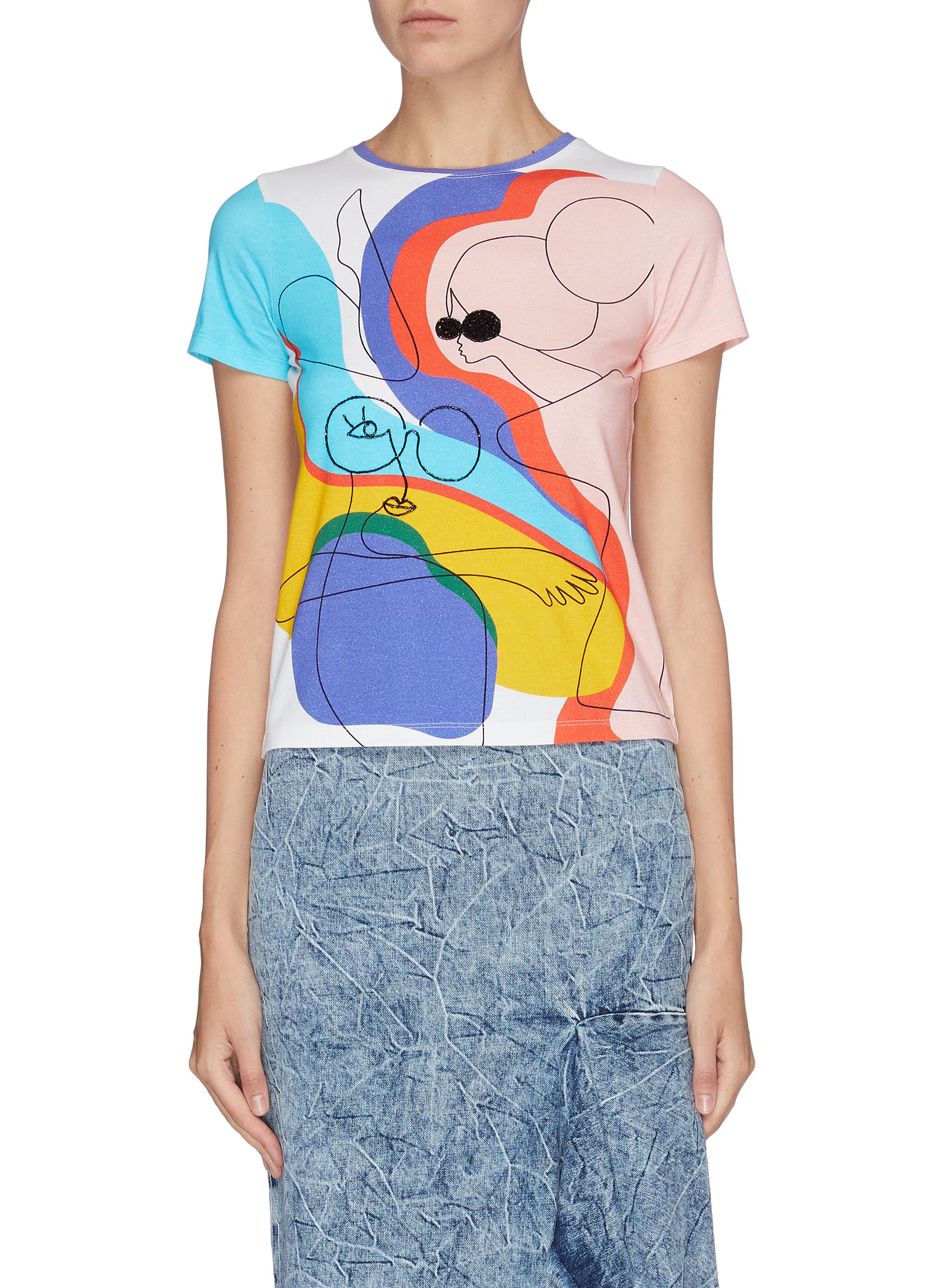 Rylyn embellished abstract print T-shirt by Alice + Olivia
