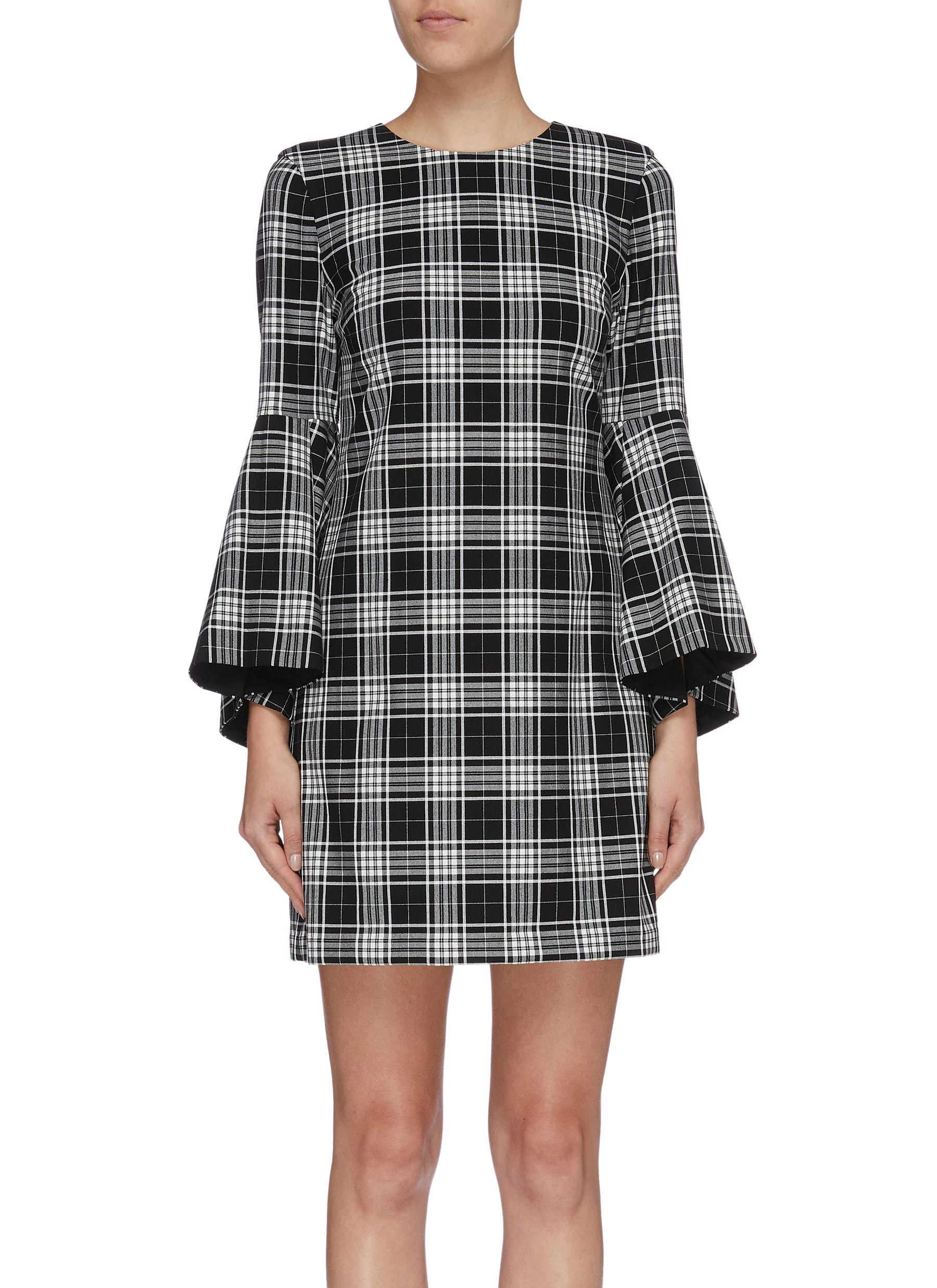 Thym trumpet sleeve check plaid dress by Alice + Olivia
