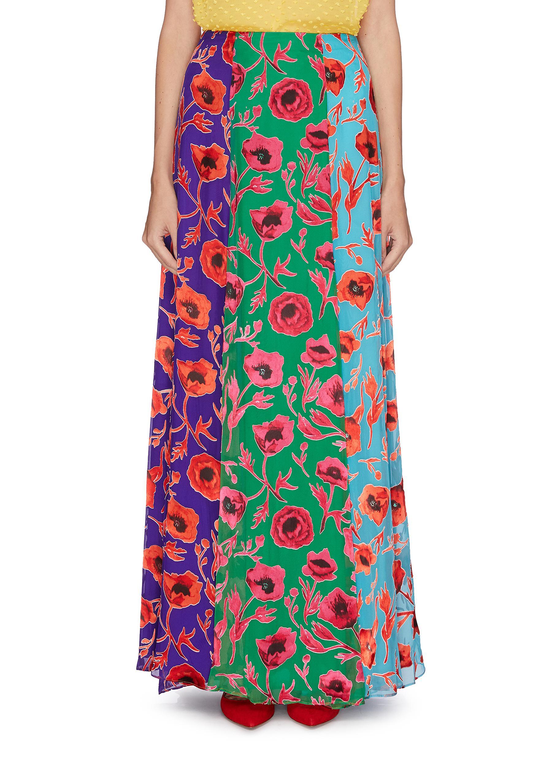 Aquinnah floral print panelled colourblock skirt by Alice + Olivia