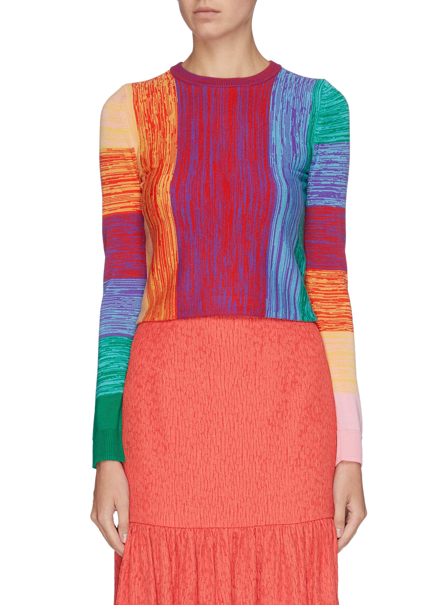 Connie variegated stripe colourblock wool sweater by Alice + Olivia