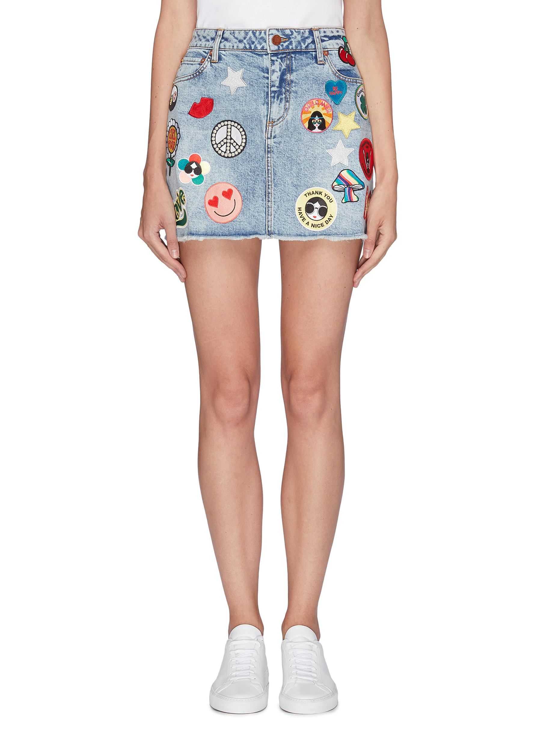 Logo graphic patch denim skirt by Alice + Olivia
