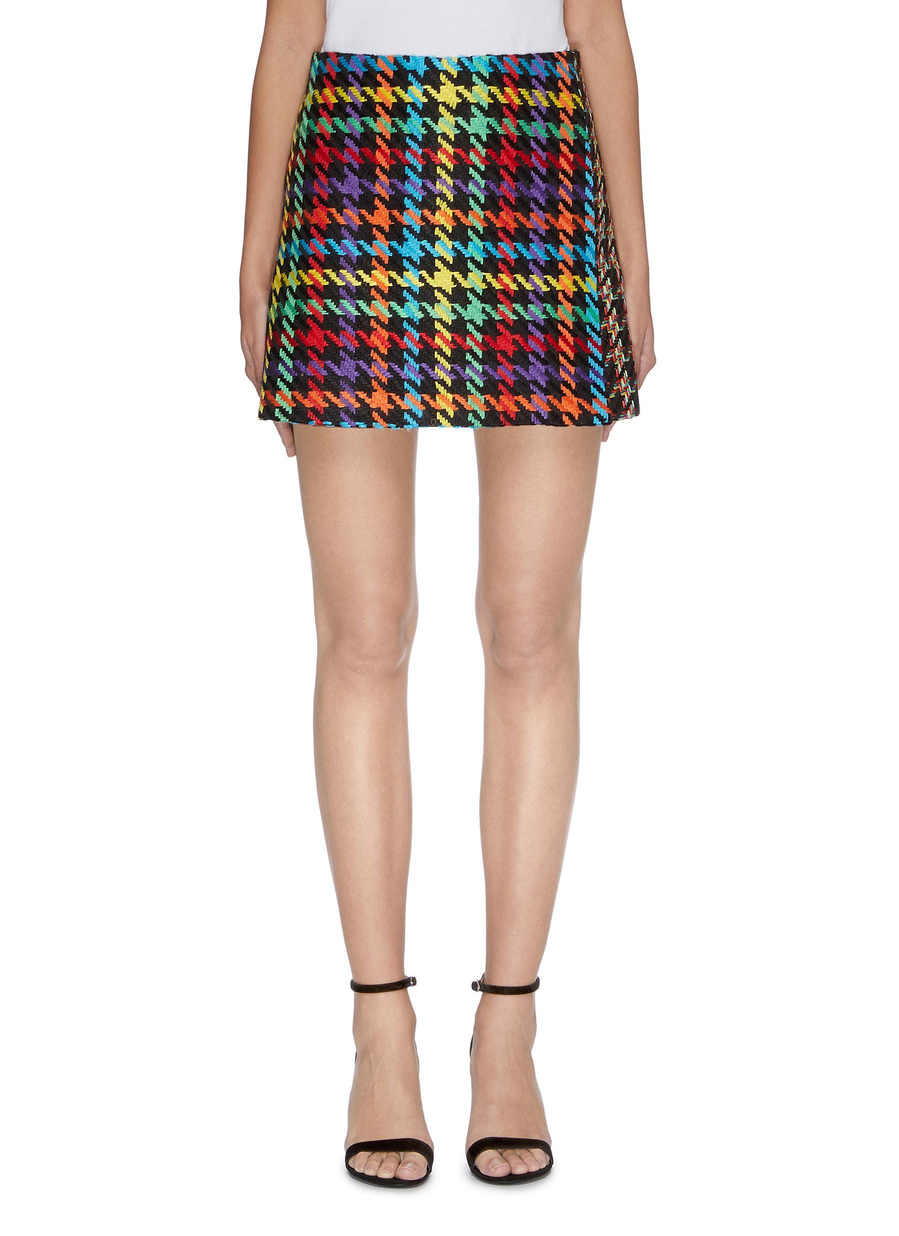 Darma colourblock houndstooth skirt by Alice + Olivia
