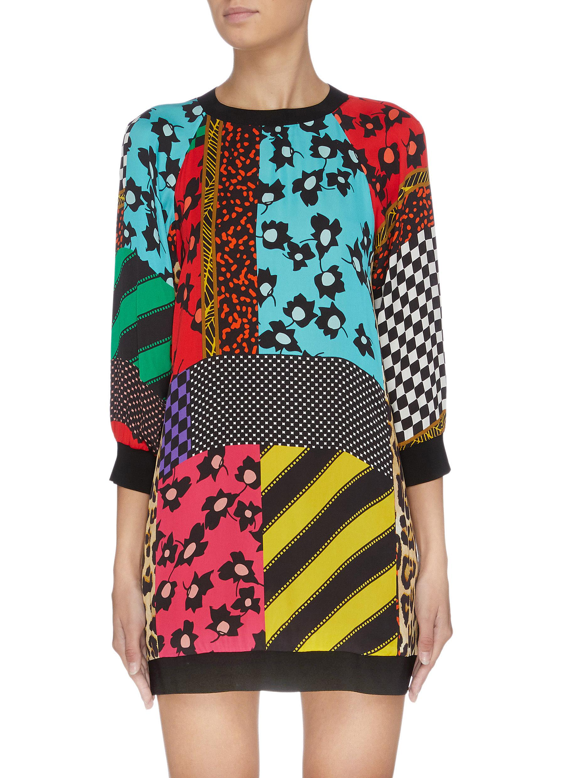 Jetti colourblock mix print sweatshirt dress by Alice + Olivia