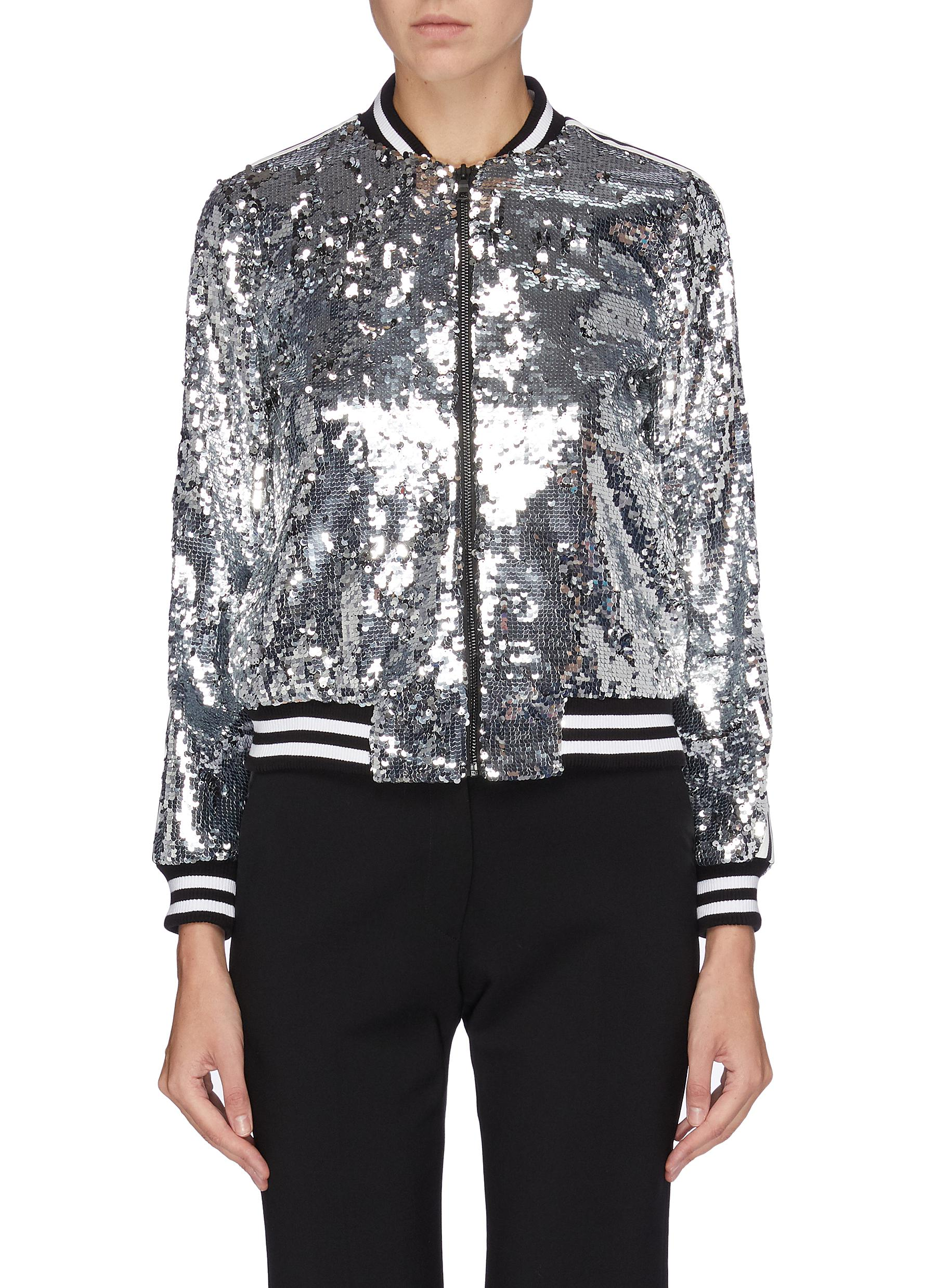 Lonnie stripe sleeve sequin bomber jacket by Alice + Olivia