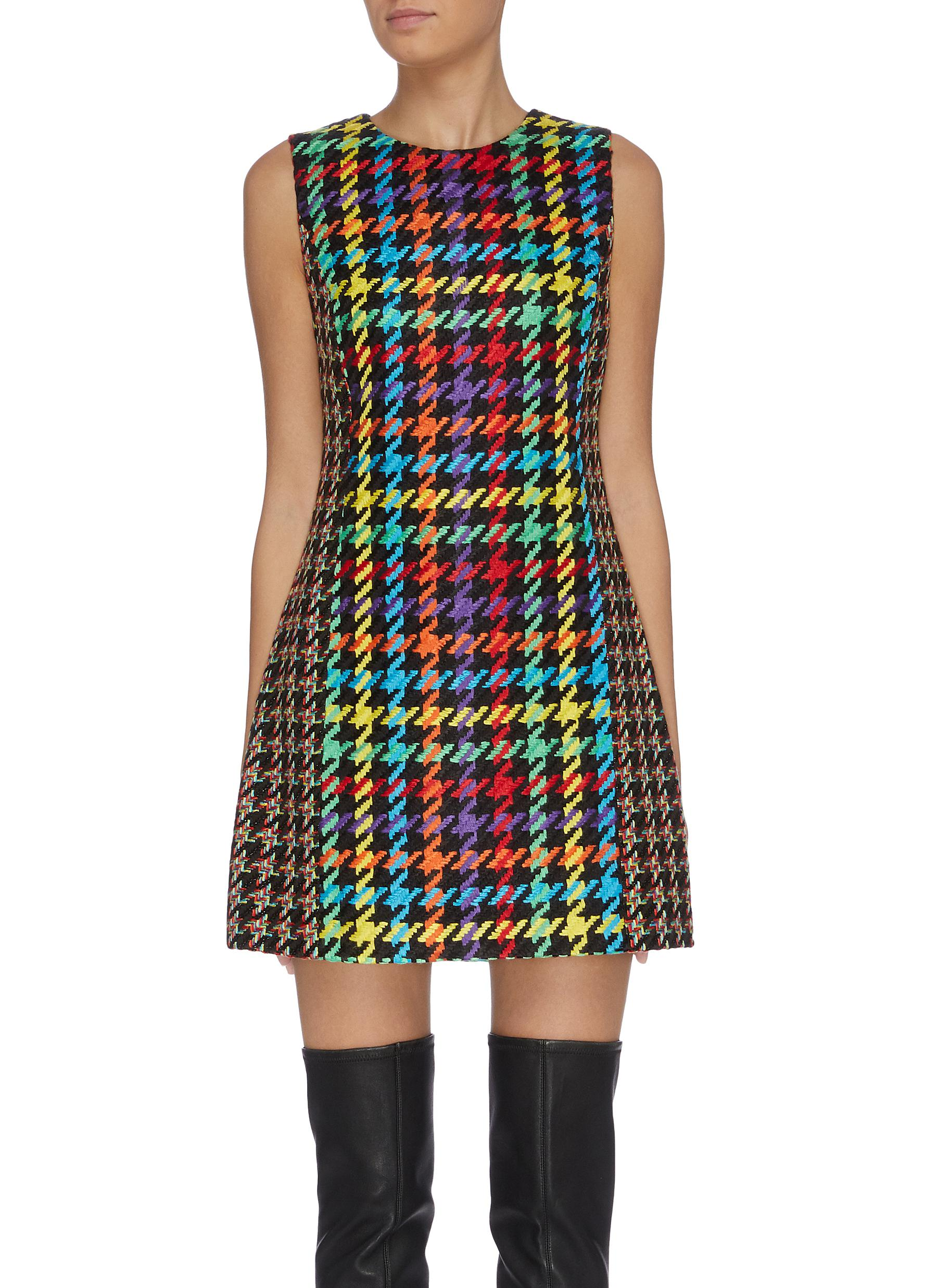 Coley colourblock houndstooth shift dress by Alice + Olivia