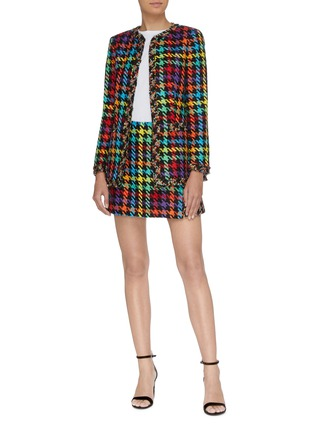 Figure View - Click To Enlarge - ALICE + OLIVIA - 'Andreas' frayed edge colourblock houndstooth jacket