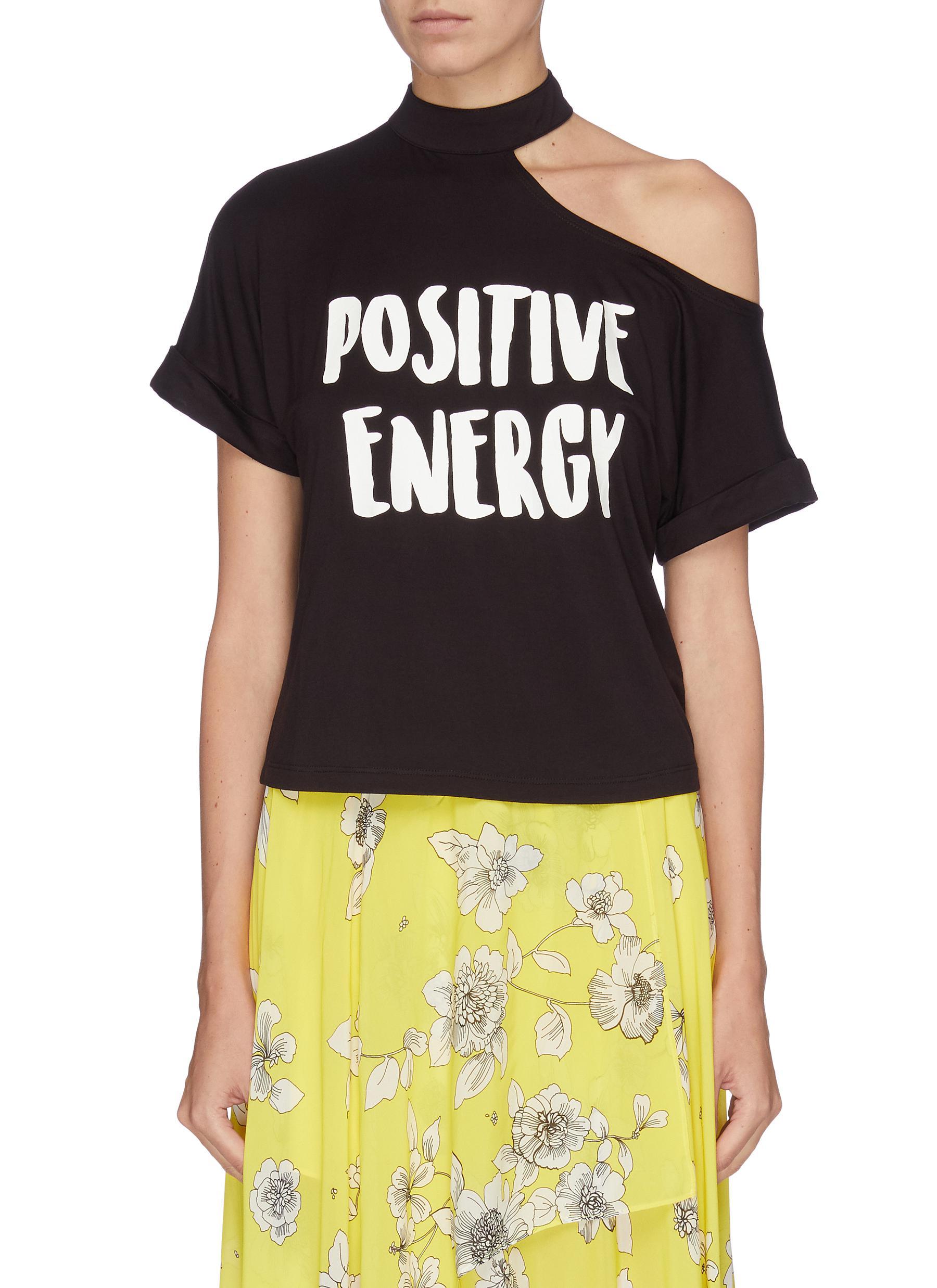 Marinda cutout shoulder slogan print T-shirt by Alice + Olivia