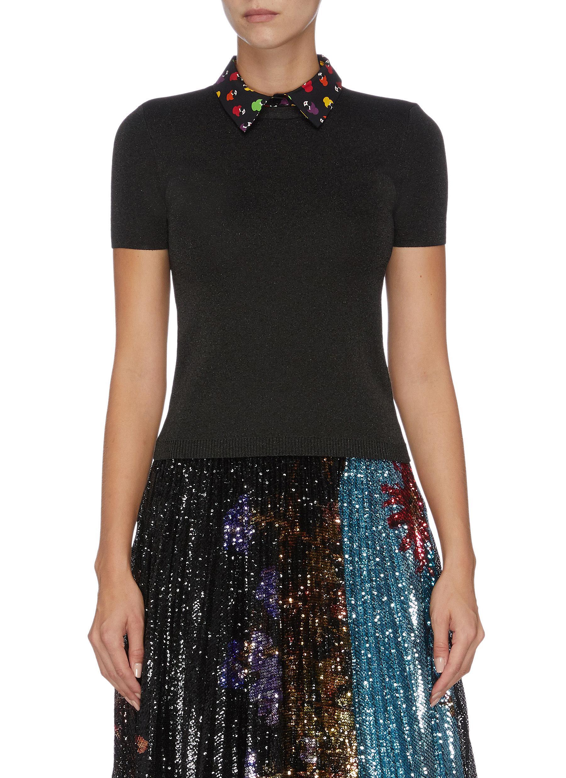 Aster graphic print collar knit top by Alice + Olivia