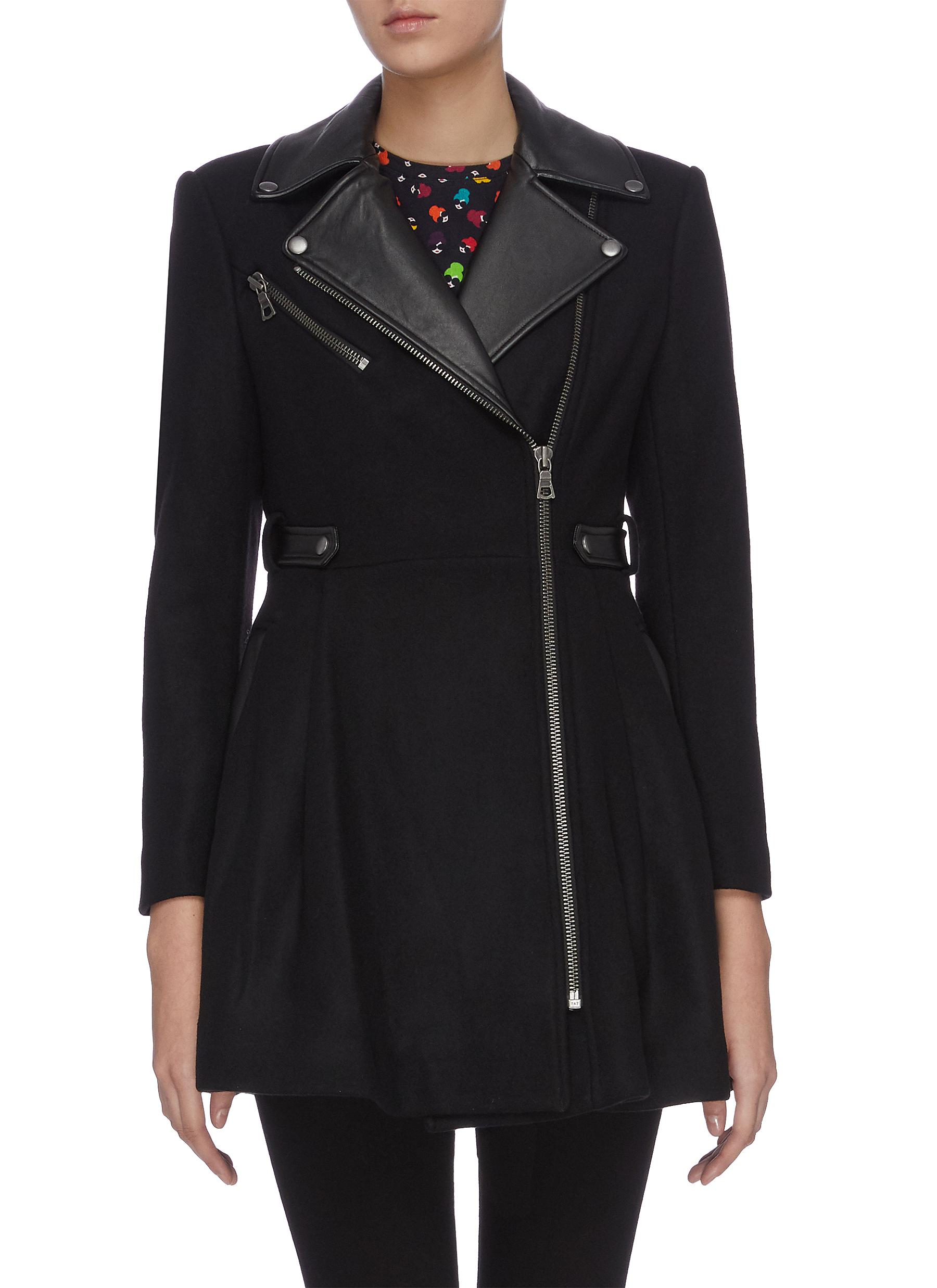 Cody leather panelled coat by Alice + Olivia