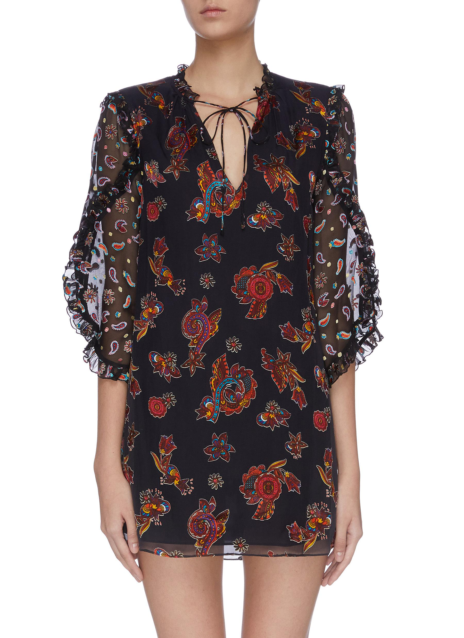 Julius ruffle sleeve neck tie mixed print dress by Alice + Olivia