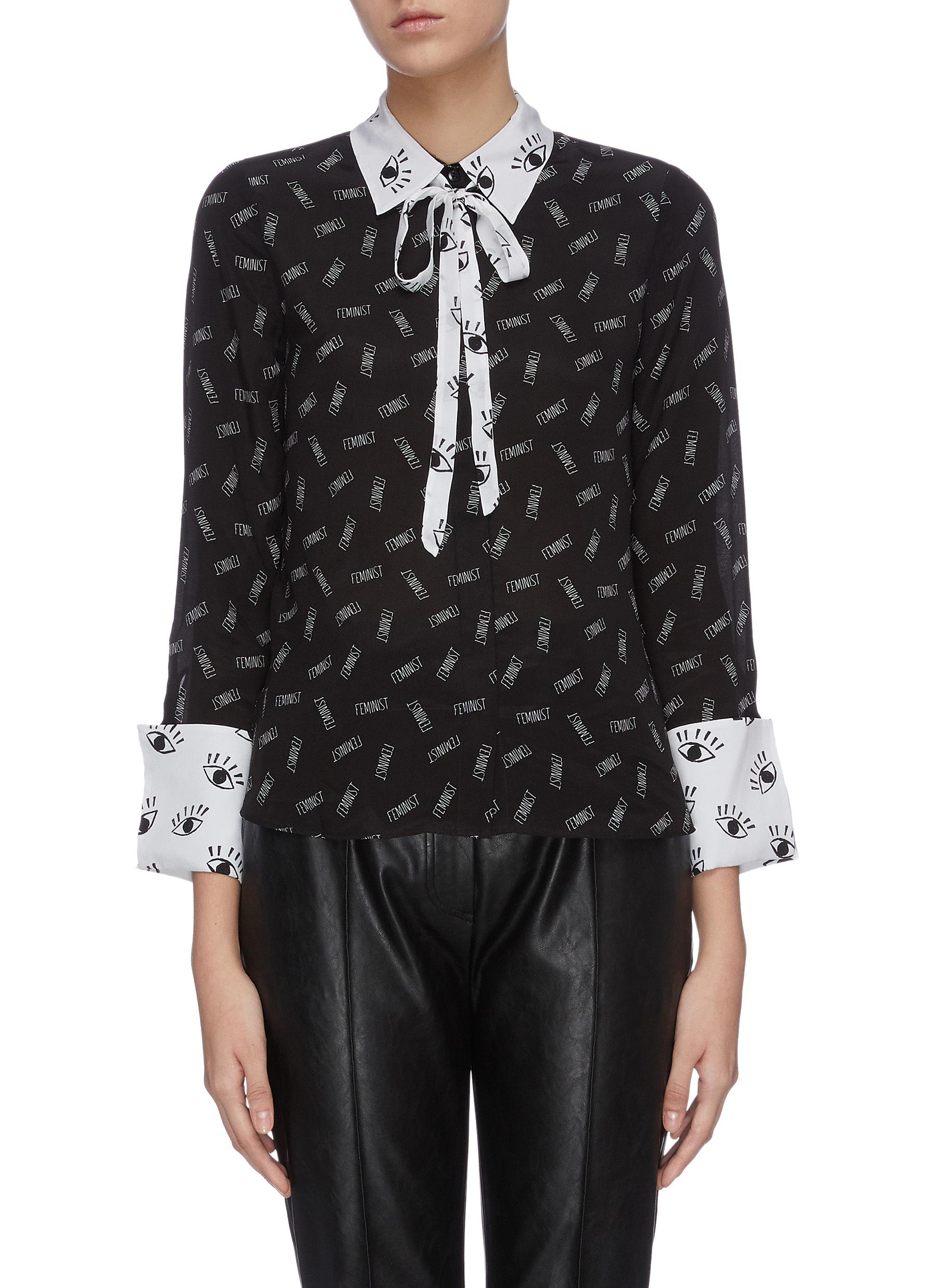 Willa mixed print colourblock neck tie blouse by Alice + Olivia