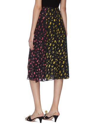 Back View - Click To Enlarge - ALICE + OLIVIA - 'Jenessa' panelled leopard print colourblock slit hem skirt