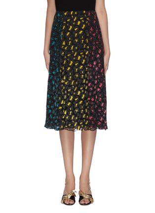 Main View - Click To Enlarge - ALICE + OLIVIA - 'Jenessa' panelled leopard print colourblock slit hem skirt