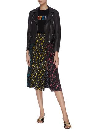Figure View - Click To Enlarge - ALICE + OLIVIA - 'Jenessa' panelled leopard print colourblock slit hem skirt