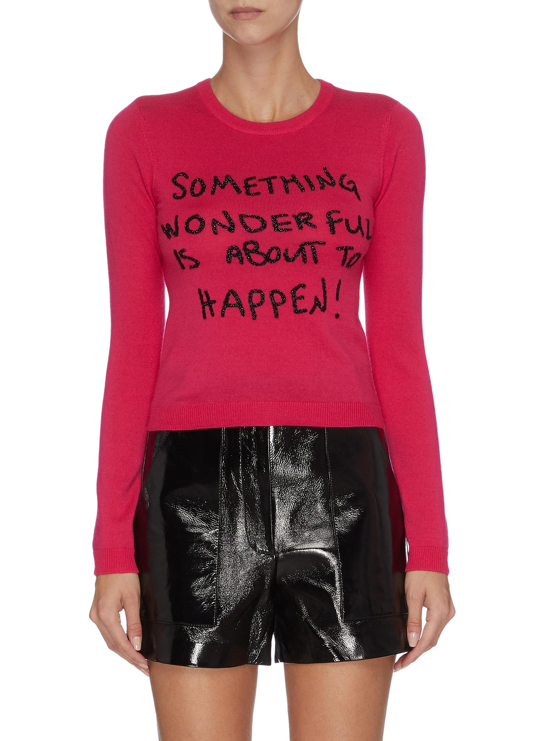 Connie sequinned slogan long sleeve top by Alice + Olivia