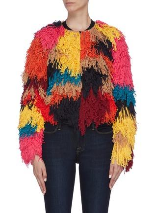 Main View - Click To Enlarge - ALICE + OLIVIA - 'Fawn' colourblock fringe jacket