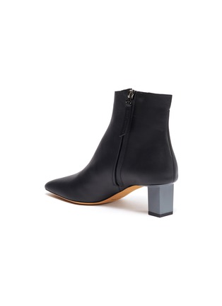 - GRAY MATTERS - 'Solitario' cube heel leather ankle boots