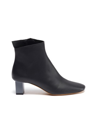Main View - Click To Enlarge - GRAY MATTERS - 'Solitario' cube heel leather ankle boots