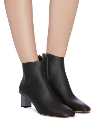Figure View - Click To Enlarge - GRAY MATTERS - 'Solitario' cube heel leather ankle boots