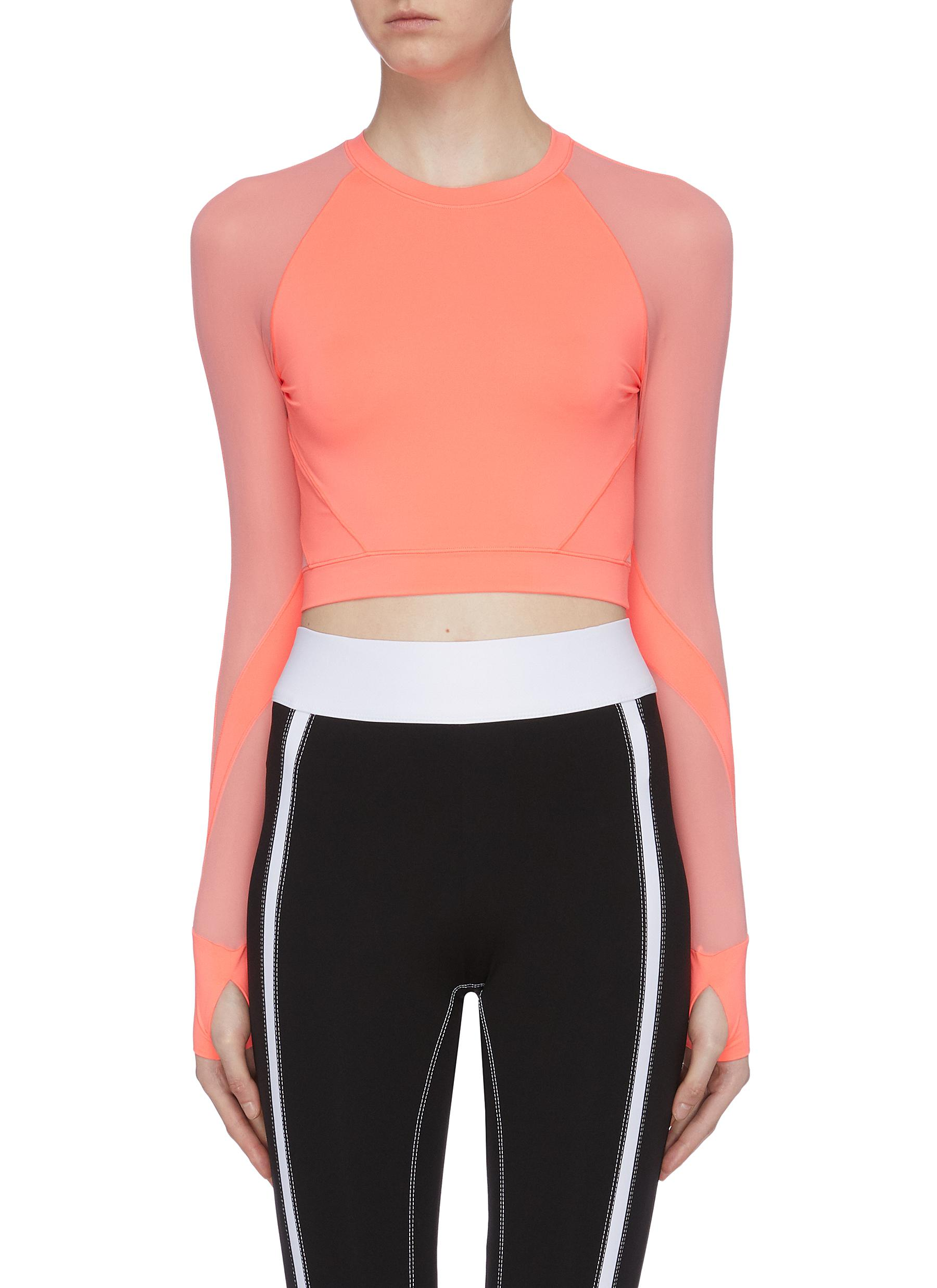 Contrast sleeve cropped performance top by Particle Fever