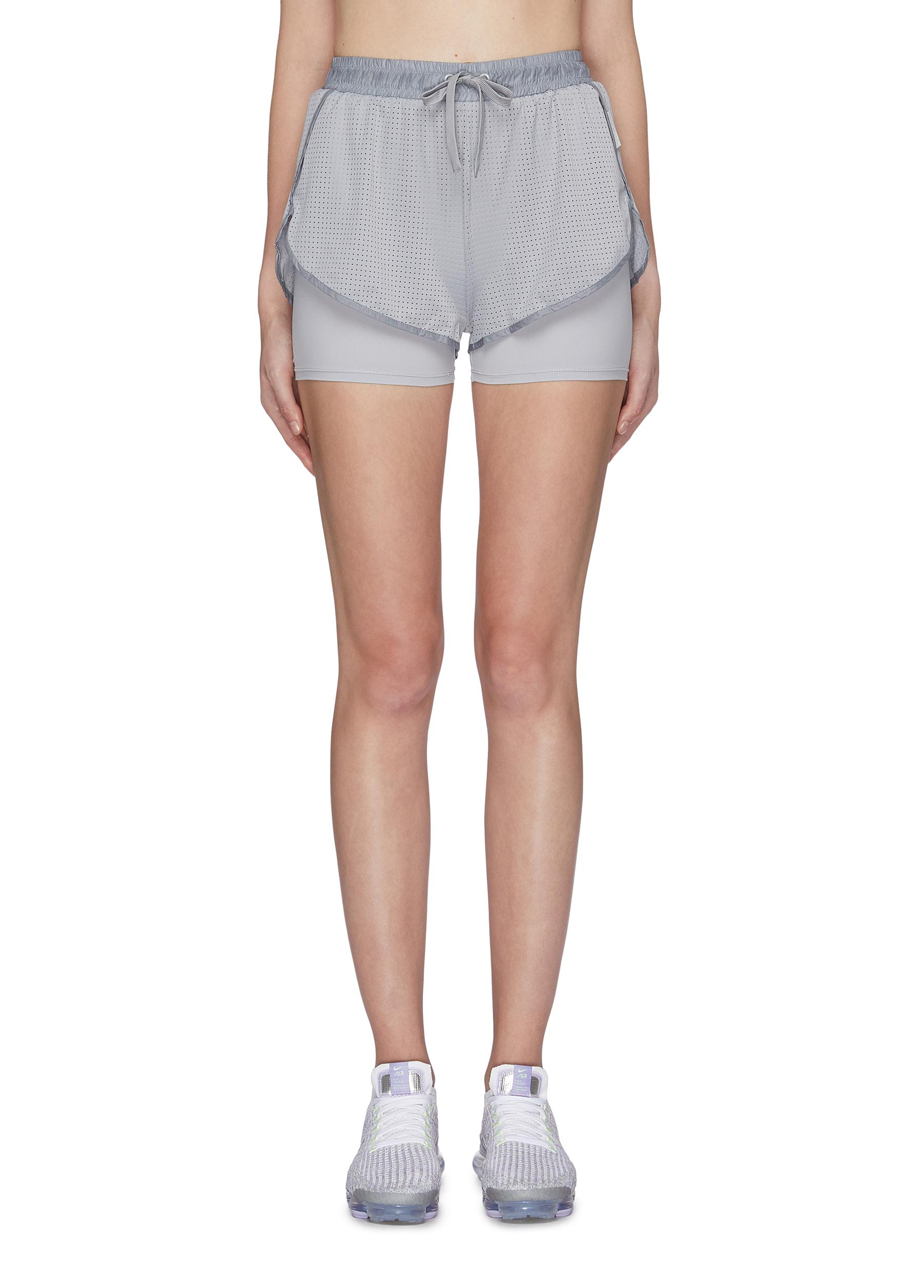 Logo waistband layered mesh Particle Noofuu running shorts by Particle Fever