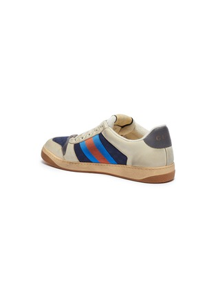 - GUCCI - 'Screener' Web stripe distressed leather sneakers