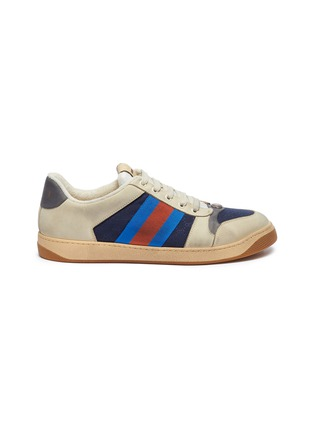 Main View - Click To Enlarge - GUCCI - 'Screener' Web stripe distressed leather sneakers