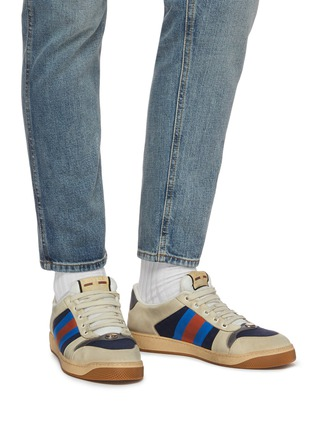 Figure View - Click To Enlarge - GUCCI - 'Screener' Web stripe distressed leather sneakers