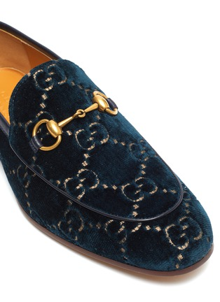 Detail View - Click To Enlarge - GUCCI - 'New Jordaan' GG embroidered horsebit velvet loafers