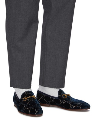 Figure View - Click To Enlarge - GUCCI - 'New Jordaan' GG embroidered horsebit velvet loafers