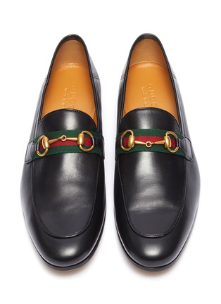 Detail View - Click To Enlarge - GUCCI - 'Brixton' Web stripe horsebit leather step-in loafers