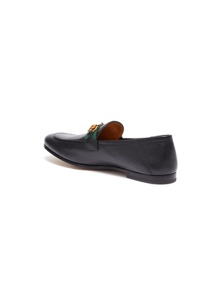 - GUCCI - 'Brixton' Web stripe horsebit leather step-in loafers